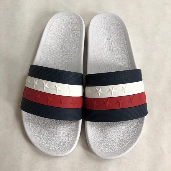 6539c2fde9cf8 Tommy Hilfiger TH Flag Star Navy Red White Slides